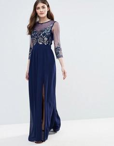 Полупрозрачное декорированное платье макси Little Mistress - Темно-синий