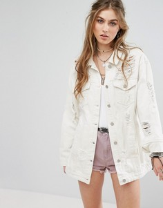 Светло-бежевая выбеленная джинсовая рубашка-куртка Missguided - Белый