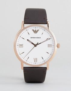 Часы с коричневым кожаным ремешком Emporio Armani AR11012 - Коричневый