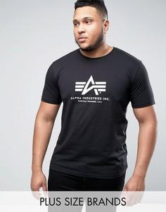 Черная футболка классического кроя с логотипом Alpha Industries PLUS - Черный