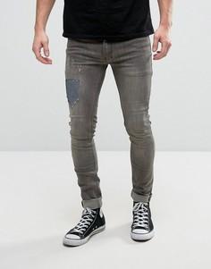 Эластичные супероблегающие джинсы с заплатками Religion - Серый