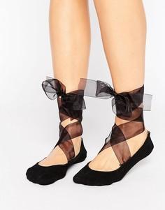 Носки с завязками из органзы ASOS - Черный