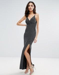 Блестящее платье макси на бретельках Lipsy - Черный