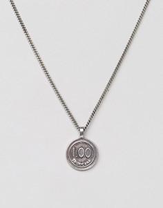 Серебристое ожерелье с подвеской в виде фишки казино Classics 77 - Серебряный