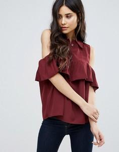 Блузка с открытыми плечами и оборкой AX Paris - Красный