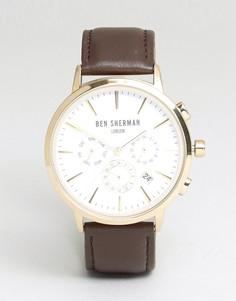 Часы-хронограф с кожаным ремешком Ben Sherman - Коричневый