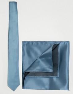 Набор из галстука и платка для нагрудного кармана синего цвета ASOS Wedding - Синий