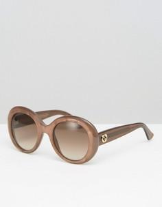Солнцезащитные очки «кошачий глаз» в массивной оправе Gucci - Коричневый