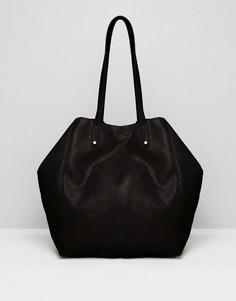 Мягкая сумка-шоппер со съемным клатчем ASOS - Черный