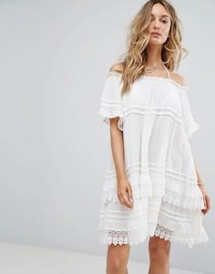 Пляжное платье со спущенными плечами и отделкой кроше Surf Gypsy - Белый