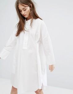 Платье-рубашка с oversize-манжетами Weekday - Белый