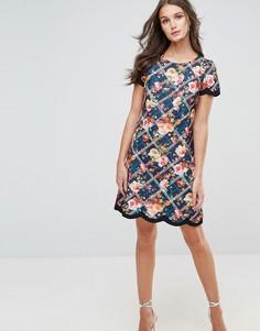 Клетчатое платье с цветочным принтом и фигурной отделкой по краю Paper Dolls - Мульти