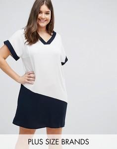 Белое платье с V-образным вырезом и темно-синими контрастными вставками Lovedrobe - Мульти