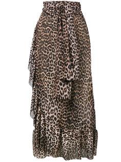 юбка с оборками в леопардовый принт Peirce Ganni