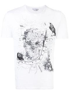 футболка с принтом черепа и карты Лондона Alexander McQueen