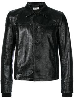 кожаная куртка без воротника Saint Laurent