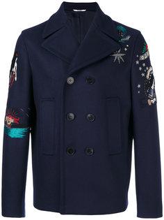 пальто бушлат с вышивкой из бисера Valentino