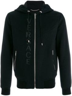 leather logo hooded sweatshirt Versace