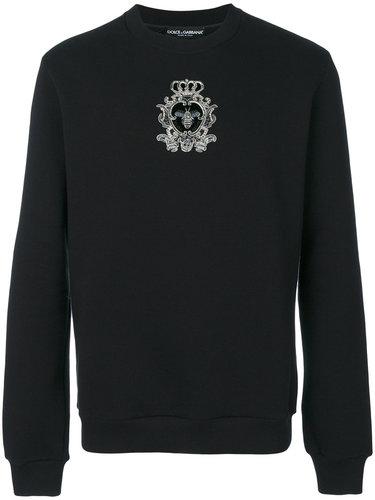 bead embroidered crowned bee sweatshirt Dolce & Gabbana