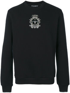 bead embroidered crowned bee sweatshirt Dolce & Gabbana