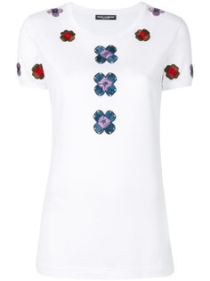 футболка с цветочной вышивкой Dolce & Gabbana