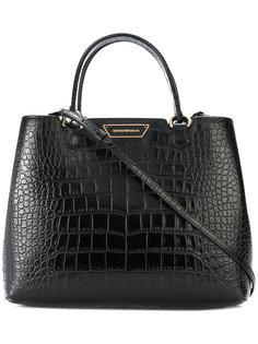 сумка-тоут с эффектом крокодиловой кожи Emporio Armani