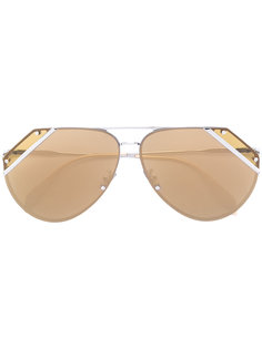 солнцезащитные очки-авиаторы с резными линзами Alexander McQueen