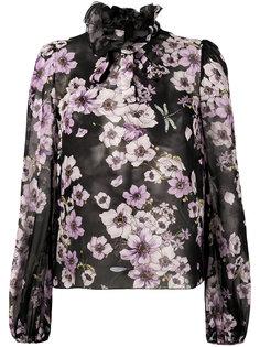 блузка с оборками у воротника и цветочным узором Giambattista Valli