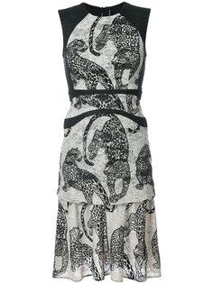 платье с вышитыми леопардами  Yigal Azrouel
