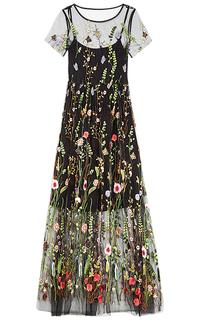 Платье из фатина с вышивкой La Reine Blanche
