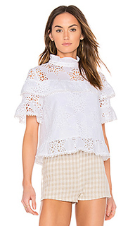 Ruffle neck lace mix top - J.O.A.