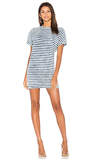 Bleached indigo stripe t shirt dress - Stateside