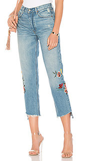 Helena high-rise embroidered crop jean - GRLFRND