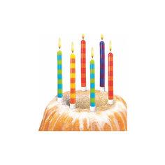 Свечи для торта в полоску, 12 шт, 12 подсвечн., парафин, блистер Herlitz