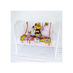 Плед- покрывало Micro Flannel, 100х118 см., Baby Nice, пчелы/розовый