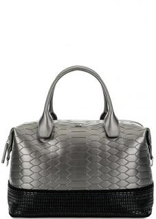 Серебристая сумка с короткими ручками на молнии Cavalli Class