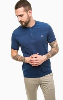 Синяя футболка с вырезом на пуговицах Fred Perry