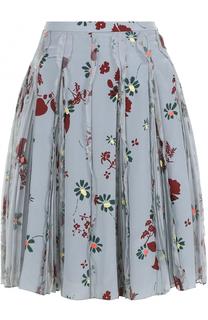 Шелковая юбка с принтом и плиссированными вставками Valentino