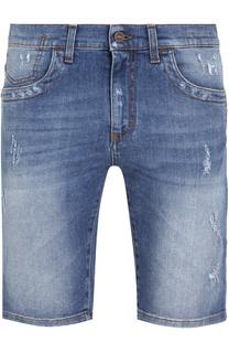 Джинсовые шорты с контрастной прострочкой Dirk Bikkembergs