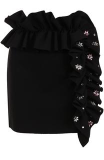 Мини-юбка с декорированной оборкой MSGM