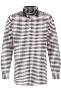 Рубашка в клетку из смеси льна и хлопка Brioni