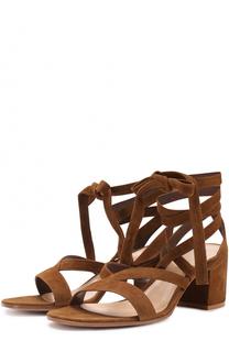 Замшевые босоножки 70xx на устойчивом каблуке Gianvito Rossi