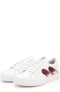 Кожаные кеды на шнуровке с декоративной отделкой Marc Jacobs