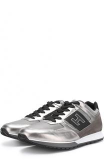 Комбинированные кроссовки на шнуровке с металлизированной отделкой Hogan