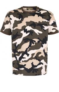 Хлопковая футболка с камуфляжным принтом Valentino