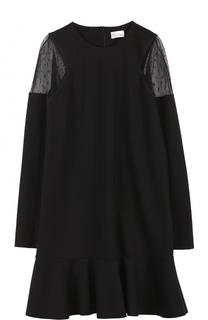 Мини-платье с оборкой и длинным рукавом REDVALENTINO
