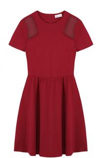 Приталенное мини-платье с кружевными вставками REDVALENTINO