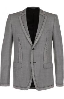 Однобортный пиджак из смеси шерсти и шелка Alexander McQueen