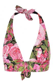 Треугольный бра с цветочным принтом Dolce & Gabbana