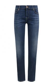 Укороченные джинсы прямого кроя с потертостями 7 For All Mankind